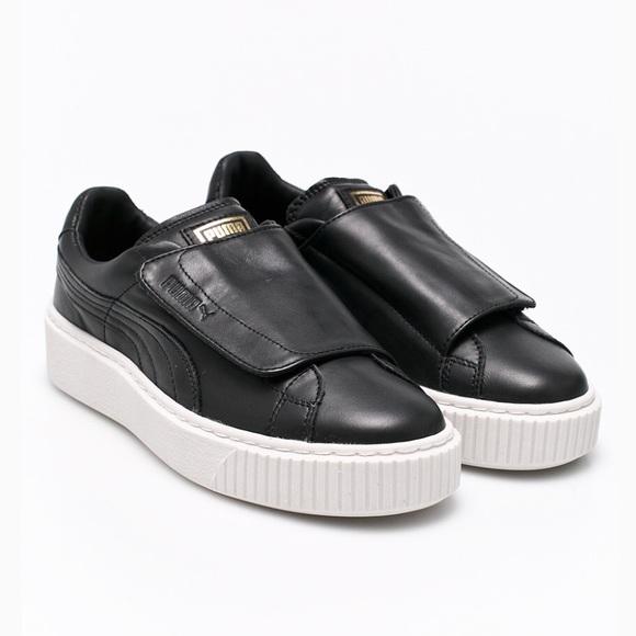ca6caadc5db793 PUMA Womens Black Sneakers Basket Velcro Platform